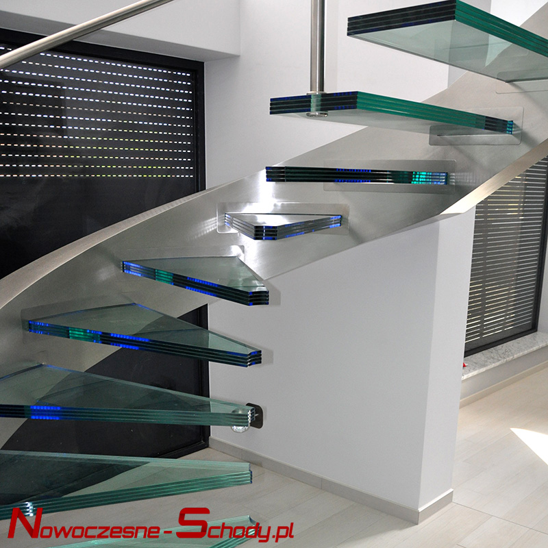 Modern stairs made of glass