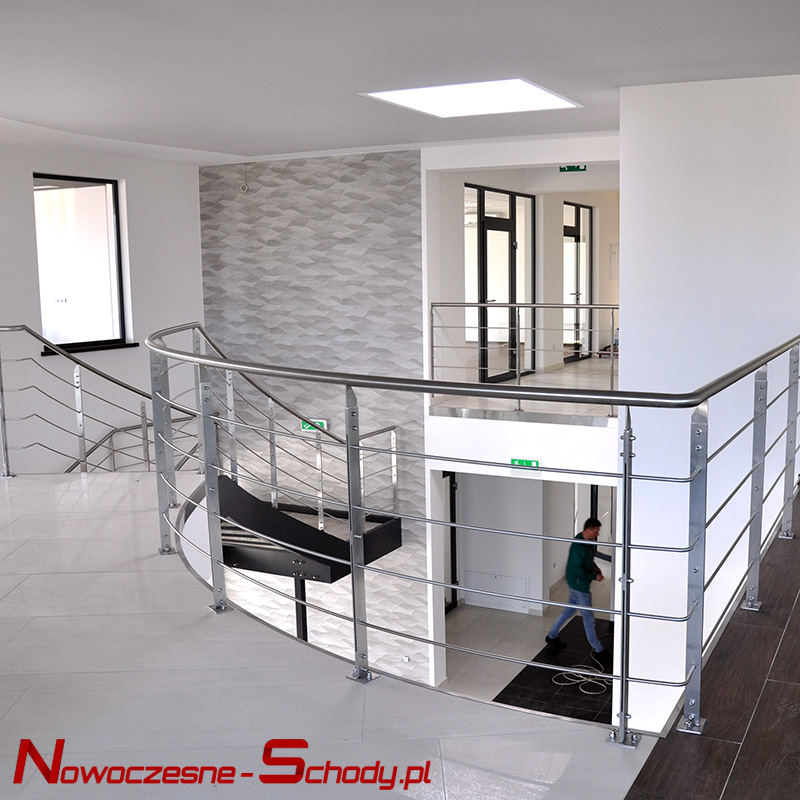 Modern stairs with steel railings